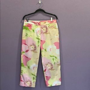REAL CLOTHES Retro Yellow Floral Cropped Capris